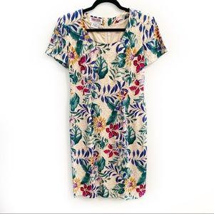 Vintage Maggie London 100% Silk Floral Shift Dress